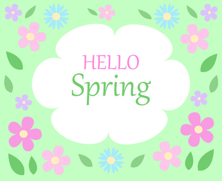 spring floral bacground text hello spring on white and green with pastel colors pink and blue flowers and green leaves vector seasonal template