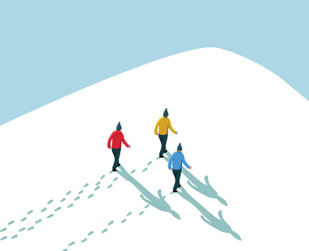 three men walking in snow up to hill mountain peak with blue sky background concept idea achieve goal reach the target growth Ilustração