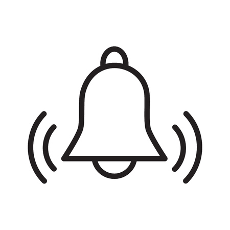 Simple flat black outline vector icon alarm bell ringing reminder concept Vectores