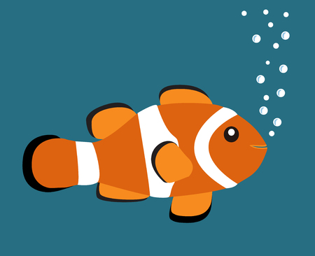 Cute orange clown fish vector illustration on blue background with white bubbles Illustration