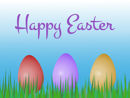 happy easter greeting card with three colored painted eggs on grass with text and blue sky background Illustration