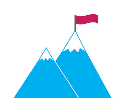 hight sharp snow covered blue mountains with red flag simple vector icon symbol of goal concept achieve reach the target overcome obstacles