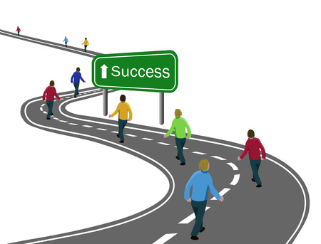 group of men walking on curved asphalt road highway to the green sign success with white arrow concept of way to success achieving goals, team cooperation, victory or journey