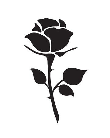 simple flat black rose vector hand drawn romance flower icon illlustration vintage style isolated on white