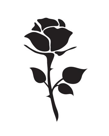 Simple plat noir rose vecteur dessiné à la main romance fleur icône illlustration style vintage isolé sur blanc