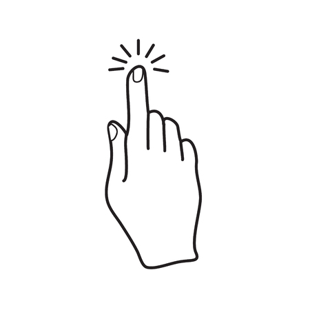 Hand finger click icon, black outline simple flat vector, touch screen symbol Illustration