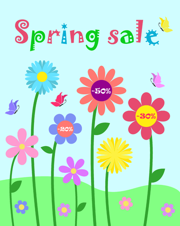 Colorful cute whimsy flowers and butterfly for spring sale design Illustration