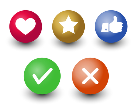 mark check o.k.,cancel, like, voting and rating vector icon set,  hand with thumb up, star and heart symbol in color 3d circle buttons with shadow