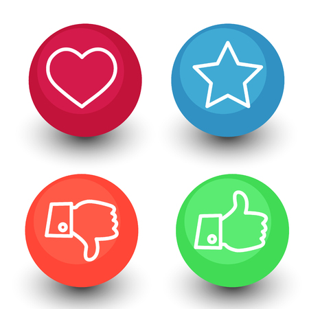 like, dislike, voting and rating, vector icon set, hand with thumb up and down, star and heart white outline symbol in color glossy circle buttons with shadow