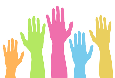 Raising colorful hands up silhouette in pastel colors, voting concept design