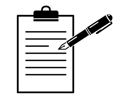 Pen on paper folder, simple black vector icon, register or mark write down concept