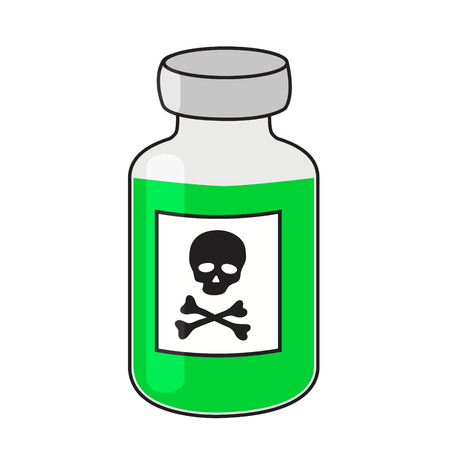 Glass vial of poison, green liquide with sign of toxicity skull with crossbones label, simple flat coartoon vector icon Banque d'images - 101156343