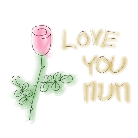Naive childish draw of red rose water color style with hand written text love you mum, Mother Day greeting card concept, vector illustration