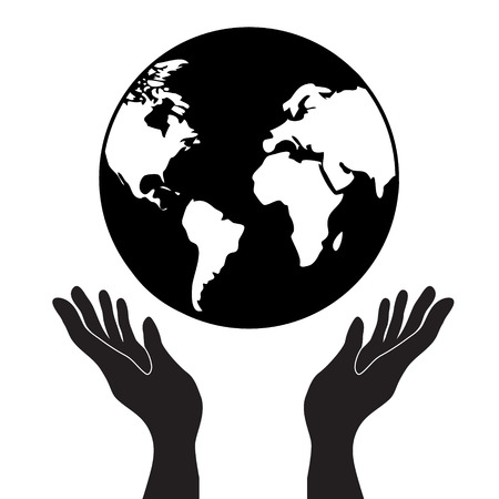protecting or control hands holding globe planet earth with continets, simple black vector icon, globalization or worlwide concept Иллюстрация