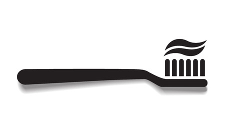 simple black toothbrush vector icon with shadow, dentist or dental hygiene tooth care concept