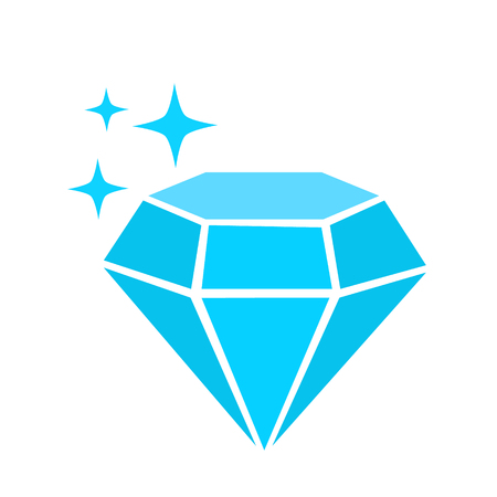 blue diamond simple vector icon with sparkles, luxury concept Vettoriali