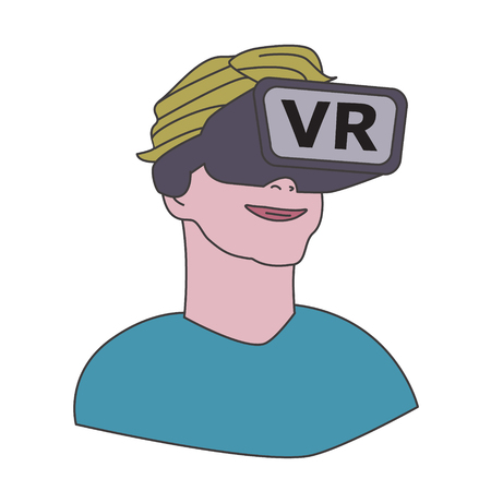 happy young man or boy  in VR, wearing Virtual Reality glasses, cartoon style color Icon Ilustração