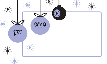PF 2019 christmas card with hanging christmas ball baubles and star in simple flat retro style frame violet blue and black vector illustration
