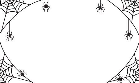 spooky halloween frame or border with black spider web and hanging spiders, vector illustration for halloween party invitation or scary greeting card
