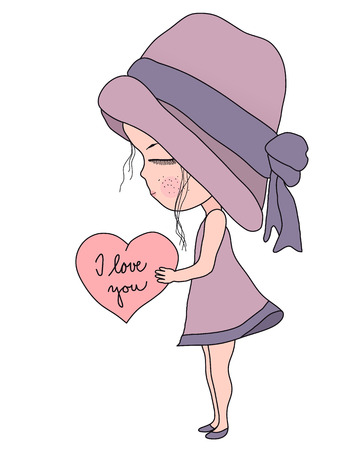 Cute Cartoon little girl in pink hat and dress holding heart with text I love you, simple flat sweet vector illustration, retro style