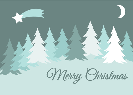 vector merry christmas winter landscape with snow covered hills and spruce tree, greeting card Illustration