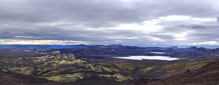Colorful wide panorama, panoramic view on Volcanic landscape in