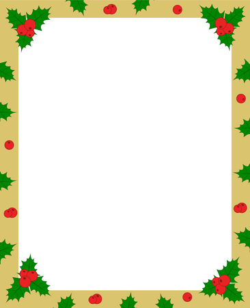 vector holly berry green leaves and red fruit on golden christmas frame border for greeting card photo or invitation copy space