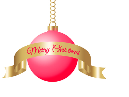 hanging red christmas ball on golden chain with gold silk ribbon and sign merry christmas isolated on white background vector illustration