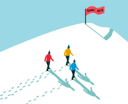goal 2019 concept achieving reach the target, three men walking in snow up to hill, footsteps and shadows with red flag sign text goals 2019, vector illustration cartoon style
