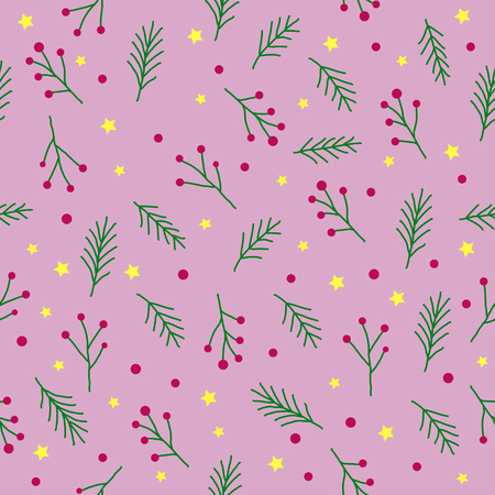 Seamless christmas pattern with green fir twigs, red berries, spruce tree sprig yellow stars and circles on pink background, vector vintage style, Graphic design element for wrapping paper.