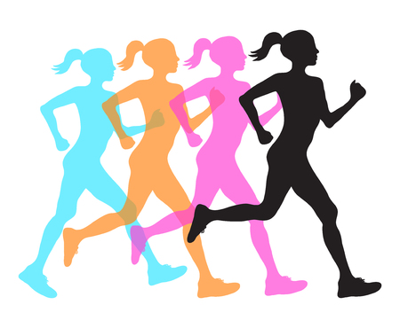 four silhouette of running women profile black, orange pink and blue overlay, fitness concept, vector eps10 illustration.