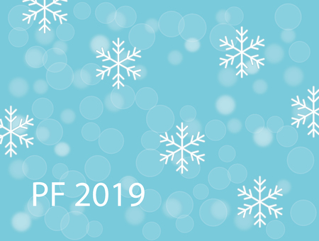 PF 2019 with white snow flakes and snow ballson turquoise blue christmas background