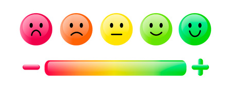 Color emoticon. Set five faces smiley scale, smile, neutral and sad in red, orange and green isolated on white with scale bar rating and plus and minus sign. Customer satisfaction feedback concept. Simple glossy design. Vector illustration EPS10.