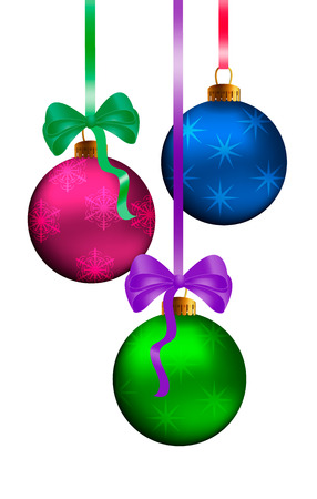 PF 2019, Christmas greeting card design element with realistic pink and blue decorated shiny ball, glass christmas 3d baubles hanging on silk ribbon. Vector illustration. Isolated on white background.