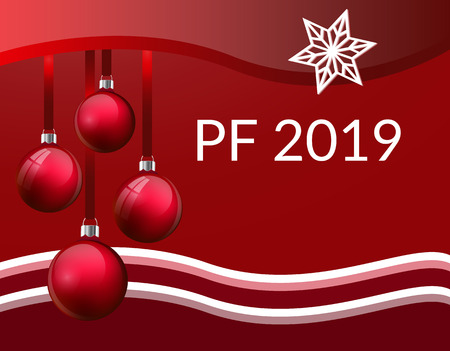 PF Christmas greeting card design with realistic red glass christmas balls. 3d Baubles hanging on silk ribbon. with red and white waves frame and white star snowflake and PF 2019 sign. Vector eps10 illustration. Red gradien background.