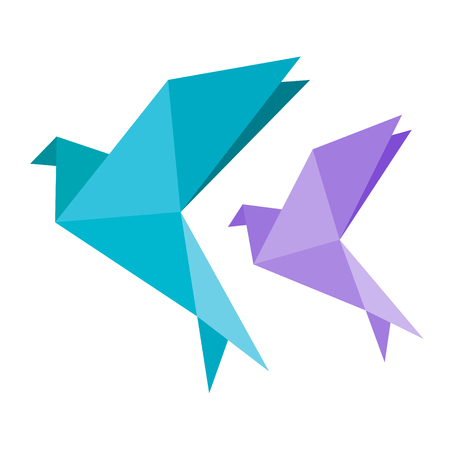 Origami dove bird blue and vilotet icon. Geometric line shape for art of folded paper. Simple flat vector eps10 illustration