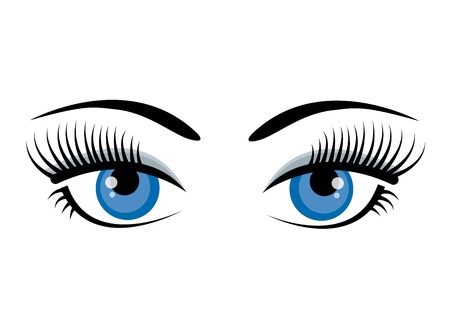 Beautiful ice blue female eyes with eyelashes, eyebrows and gray shadow isolated on white background. Flat style logo or icon design. Cartoon eyes. Vector illustration concept for beauty salons, cosmetic shops, makeup artists or vision.