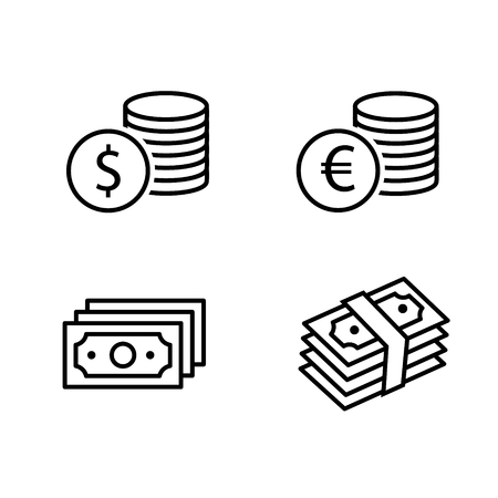 Cash paper money stack and dollar and euro coin black outline icon set with shadow. Business financial pictograms. Vector eps10 Illustration.