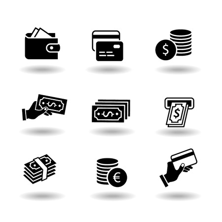 Money and payment solid black vector icon set. Euro and dollar coin, exchange, credit card, pay by card, atm, paper money, investment, cash pay and wallet. Business financial commerce pictograms. Vector eps10 Illustration.