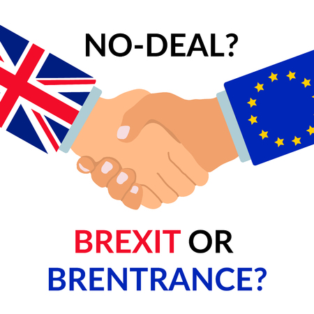No deal Brexit or Brentrance design. Handshake with sleeves with Europian union flag and Great Britain Flag with text. Concept of conflict about brexit deal. Eps10 vector illustration.