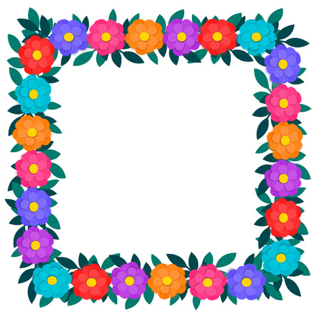 Colorful paper cut out flowers and green leaves floral garland square frame or border isolated on white background with copy space. Vector eps10 Design Element