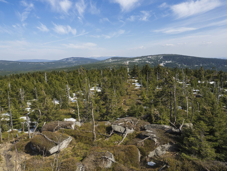 landscape of Jizera Mountains jizerske hory, view from peak of holubnik mountain with lush green spruce forest, trees, hills and fields springtime with snow remains, blue sky background