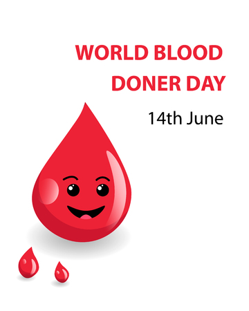 Cute smiling drop of blood with text, concept for World blood donor day. EPS10 Vector illustration.