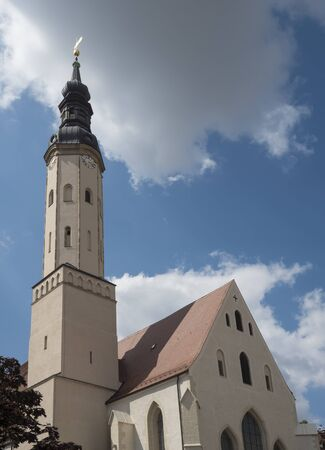 St. Pauls church in Historic old town of Zittau, Saxony, Germany. Summer sunny day, blue sky