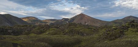 Beautiful scenic panorama of Colorful Brennisteinsalda mountain in Landmannalaugar camp site area of Fjallabak Nature Reserve in Highlands region of Iceland