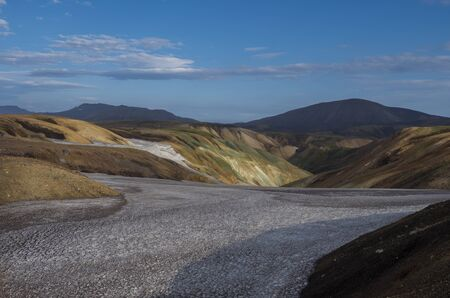 Colorful Rhyolit mountain panorma with snow fiields and multicolored volcanos in Landmannalaugar area of Fjallabak Nature Reserve in Highlands region of Iceland.