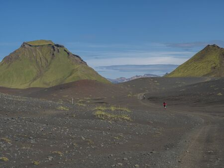 Panoramic view on green Hattafell mountain in Volcanic landscape behind Emstrur camping site on Laugavegur trek. Area of Fjallabak Nature Reserve in Highlands region of Iceland. Imagens