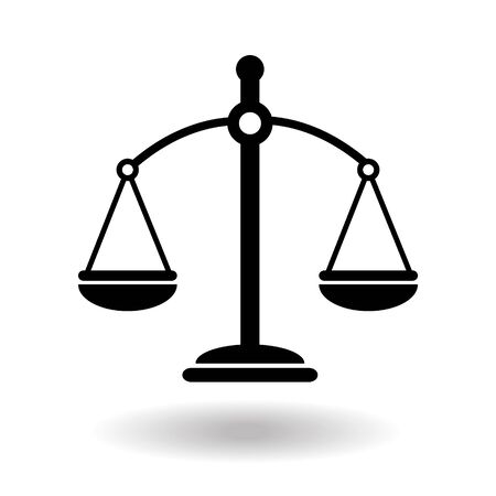 Black justice scales icon. Law balance symbol. Libra in simple flat design. Vector illustration on white background