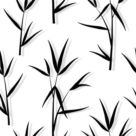Seamless square ornamental pattern with black bamboo leaves and sprouts branches in Japanese style, white background. Vector eps 10 illustration