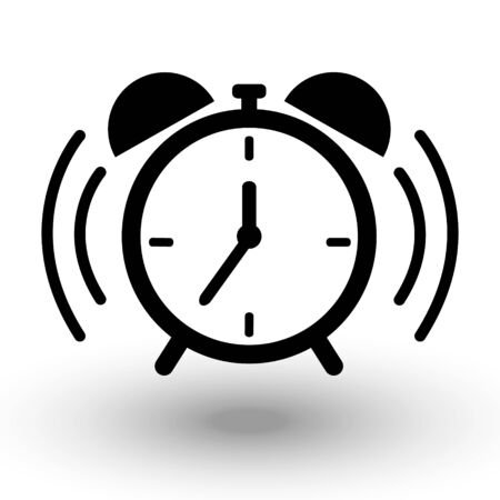 Table Alarm Clock ringing icon. Simple black vector icon, Wake up, morning get up concept, Time sign isolated on white background. Trendy Flat style for graphic design, Web site, UI. EPS10